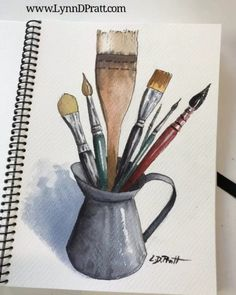 Watercolor Paintings, Painting Art, Watercolors, Still Life Drawing, Watercolor Sunflower, Diy Crafts Videos, Painting Techniques, Art Projects, Drawings