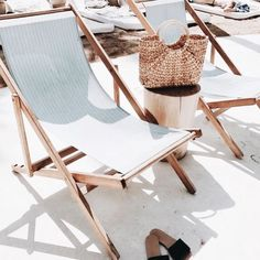 beach chairs, summer at the beach, rattan, straw purse