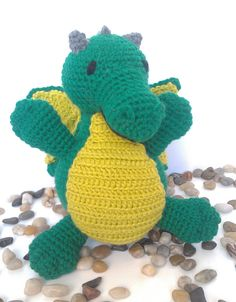 Roar!  Don't worry, this green dragon won't breathe fire at you, but he may ask for a hug.  Originally designed for a fantasy lover to give to a newborn, but gamers young and old have fallen in love.  Can be made in a variety of colors.