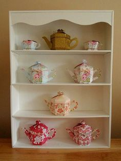 I'd been looking to buy a small display shelf for some time; something to display my teapot boxes on, but I couldn't find anything suitable. Wall Curio Cabinet, Wall Display Cabinet, Display Shelves, Tea Cup Display, Sticky Back Plastic, Small Shelves, Favor Boxes, Tea Pots, Projects To Try