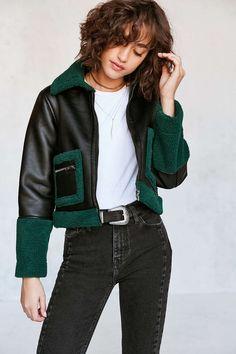 Silence + Noise Opia Vegan Sherpa Leather Jacket