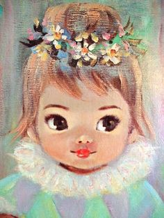 Vintage 1960s Art Print Gigi by Sherle Big Eyed by PainterPoetMuse