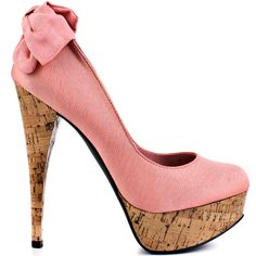 This Bebe pump will be your new go to shoe!  Kahlilia brings you a luxe textured peach satin upper adorned with a classy bow at the back of the 5 1/2 inch heel.  The cork plays perfectly well with the silhouette and envelopes the stiletto heel and 1 1/4 inch platform.