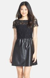 B44 Dressed by Bailey 44 'Starry Sky' Lace & Faux Leather Dress