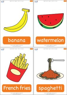 """Food flashcards for the Super Simple Learning song Are You Hungry? These food flashcards are a great accompaniment to """"Are You Hungry?"""" a classroom favorite. Contains 5 flashcards: banana, watermelon, french fries, spaghetti, ice cream. Esl Learning, Teaching Kids, Learning Tools, English Lessons, Learn English, Food Flashcards, Grammar Activities, English Activities, Infant Lesson Plans"""
