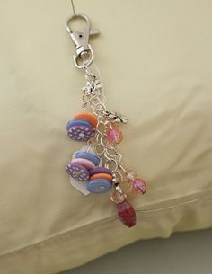 Polka Dot Button Handbag Purse Charm Zipper Pull - Tibetan Silver Charms  $6.40