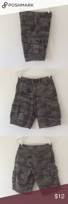 """American Eagle: Men's Longboard Cargo's-Size  26 Very comfortable, excellent condition! Camo with a light grid design (see pic 4)  Length: 20 1/2"""", Inseam: 11 1/4""""  100% Cotton  Non Smoking Home American Eagle Outfitters Shorts Cargo"""