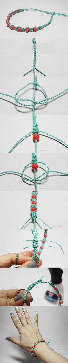 Braided and knotted bracelet/How to make a bracelet (Diy Jewelry) - Easy Crafts for All Hemp Jewelry, Macrame Jewelry, Handmade Jewelry, Macrame Bracelets, Jewelry Bracelets, Bead Crafts, Jewelry Crafts, Diy And Crafts, Jewelry Kits