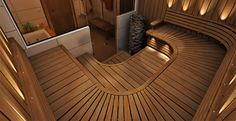 Finländsk bastu Sauna Design, Saunas, Wellness Spa, Architecture Design, Art Deco, Stairs, Sauna Ideas, Interior Design, Outdoor Decor
