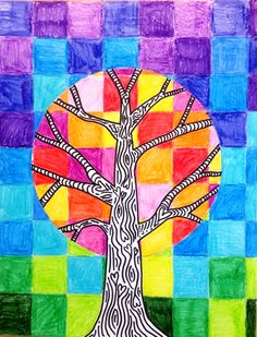 Art, math & nature study connection - warm and cool colors - fall art idea for mid to upper elementary students (leaf art projects for kids) Fall Art Projects, School Art Projects, Simple Projects, Diy Projects, 6th Grade Art, Fourth Grade, Creation Art, Ecole Art, Autumn Art