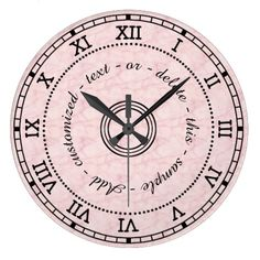 Antique Roman Numeral Light Pink Marble Effect Wall Clocks - Add your own text to the clock face! ~ $43.85 zazzle.ca