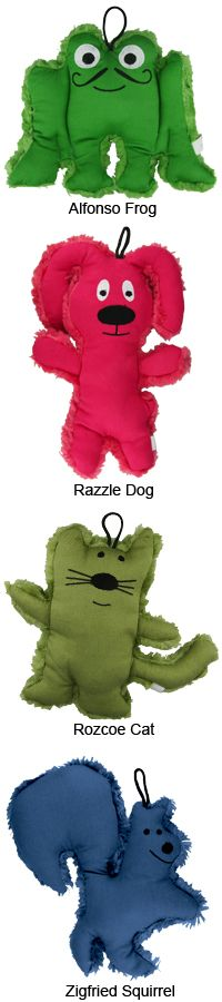 Loopies® Organic Animal Dog Toy at The Animal Rescue Site Love the squirrel & doggy!! Unfortunately, it's better for us to get toys we DON'T like so much, because their fate is only to be butchered by tiny Jack in absolute record time.