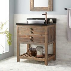 """30"""" Benoist Reclaimed Wood Console Vanity for Semi-Recessed Sink - Gray Wash Pine"""