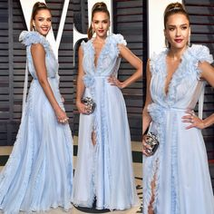 Jessica Alba in Ralph & Russo Couture gown at 2017 Vanity Fair Oscar After-Party.