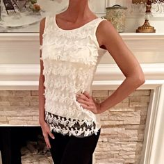 Stunning white lace covered tank! Beautiful fit in nice knit fabric! Lace scalloped at hem Tops Tank Tops