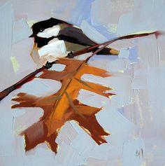 Mésange no 288 original oiseau huile sur toile de Moulton 8 x 8 pouces sur panneau prattcreekart