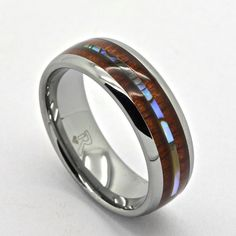 Tungsten, Hawaiian Koa Wood and Abalone Ring, Inlay Design, 8mm Wide Comfort fit Wedding Band by RandallScottJewelry on Etsy