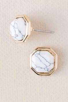 Eisley Marble Hex Stud Earrings- White