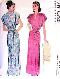 1940s Lovely Housecoat  Robe Hostess Gown Pattern McCall 6719 Beautiful Shirred Shoulders Surplice Wrap Negligee Bust 42 Vintage Sewing Pattern UNCUT