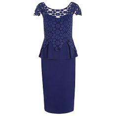 Buy Alexon Lace Peplum Dress, Navy Online at johnlewis.com