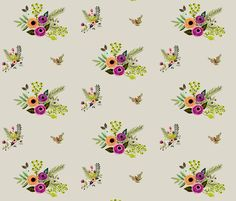 Floral Frost - Light Tan fabric by shopcabin on Spoonflower - custom fabric