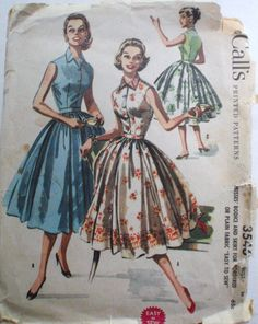 Vintage 50's Easy to Sew Bodice and Skirt Pattern Suitable for Border Prints - McCall's 3546 - Size 18, Bust 36 by Shelleyville on Etsy