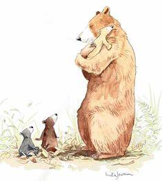 The Illustration Cupboard Anita Jeram♥🌸♥ Art And Illustration, Cute Animal Illustration, Bear Art, Cute Drawings, Illustrators, Character Design, Cute Animals, Sketches, Anita Jeram
