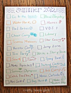 My kids are more grown up, but I still like the idea of a fun check list.  We can visually check one or two things off each week so our summer doesn't fly by without doing all the things we want to do.