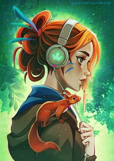 Girl with headphones and squirrel: Original anime character [digital art by Radittz]