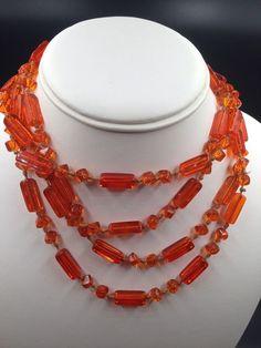 Vintage Antique Czech Czechoslovakia Orange Crystal Sautoir Necklace Long  | eBay