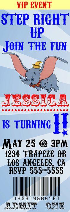 Dumbo Birthday Invitation Ticket Style - Digital File