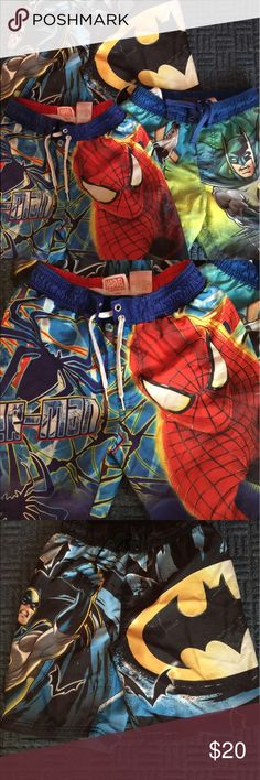 3 superheroes swim trunks 2 Batman and 1 Spider-Man trunks for that superhero boy in your life. Great condition! Swim Swim Trunks