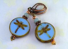 Glass Tile Dragonfly Earrings  Pale Blue by RoEnchantedDesigns, $10.00