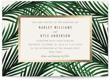 Tropical Love foil pressed wedding invitations