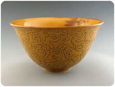 Bright Yellow Porcelain Bowl With Etched Black by gottuso on Etsy, $150.00