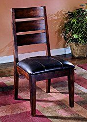 Ashley Furniture Signature Design – Larchmont Dining Room Chair – Set of 2 – Burnished Dark Brown