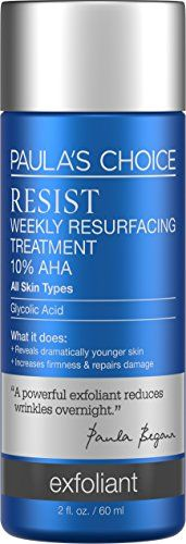Paulas Choice Resist Weekly Resurfacing Treatment 10 AHA Exfoliant with Glycolic Acid for All Skin Types 2 oz by Paulas Choice >>> Learn more by visiting the image link. (This is an affiliate link) Anti Aging Facial, Best Anti Aging, Paula's Choice Resist, Exfoliate Face, Younger Skin, Glycolic Acid, Facial Care, Facial Masks