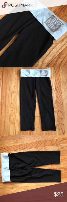 PINK Victoria secret yoga capris Light blue and silver!! Never used PINK Victoria's Secret Pants Capris
