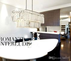 Home Owner Decoration Tips Crystal Chandelier Lighting, Pendant Chandelier, Crystal Pendant, Romantic Living Room, Modern Kitchen Lighting, Dining Room Bar, Dining Rooms, Dining Table, Rectangular Chandelier