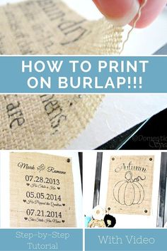 Learn how to Print on Burlap with this great Step by Step Tutorial & Video - everything you need to make Burlap Signs!Learn how to Print on Burlap with this great Step by Step Tutorial & Video - everything you need to make Burlap Signs! Burlap Projects, Burlap Crafts, Diy Projects To Try, Crafts To Make, Fabric Crafts, Easy Crafts, Craft Projects, Crafts For Kids, Craft Ideas