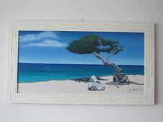 (¯`'•.Paesaggio marino OLIO su TELA.•'´¯) quadro dipinto a mano, 40x80 cm