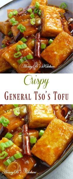 General Tso\'s Tofu - crispy fried tofu with a spicy sweet Asian Sauce. Quick and Easy weeknight meal that everyone will love!