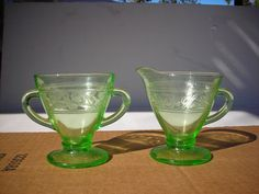 Green Depression Vaseline Uranium Glass Cream & by vintagecathouse, $24.99