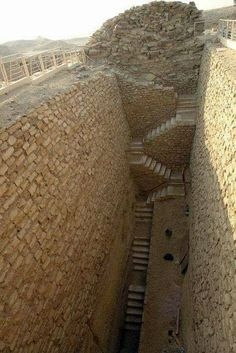 Stairs in the southern part of the stepped pyramid of Djoser, Saqqara, Egypt