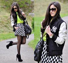 Choies Shirt, Choies Skirt, Choies Jacket, Zerouv Sunglasses