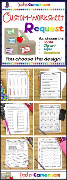 Need a worksheet just for your class? I will create a worksheet that fits you and your classes' personal needs. You choose everything from the worksheet type to the clip art to the fonts to the questions themselves! Takes 1 to 2 days! Elementary Education, Education College, Elementary Teacher, Easel Activities, Powerpoint Games, Study Board, 100 Days Of School, School Stuff, Teacher Resources