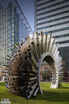 Wind-playing sculpture, Canary Wharf in London.