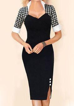 Black Houndstooth Patchwork Print Side Slits V-neck Bodycon Fashion Elegant Pencil Midi Dress