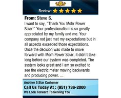 """I want to say, """"Thank You Mohr Power Solar!"""" Your professionalism is so greatly..."""