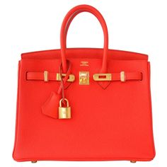 ebb0953fe65 Hermes Capucine Baby Birkin Red Orange 25cm Togo Gold Hardware Darling